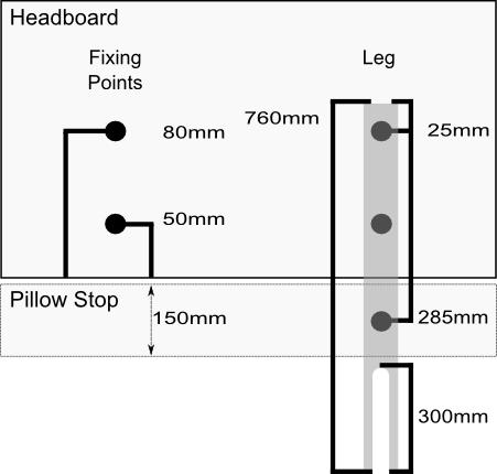 headboard leg dimensions size